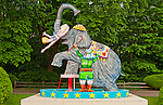 "Red Grooms sculpture ""Jumbo"" a large outdoor sculpture of Circus Elephant with Tamer and Acrobat, on grounds of Nassau County Museum of Art, Roslyn Harbor, Long Island, New York, May 24, 2009. American artist's 2001 enamel on aluminum 116 x 109 1/2 x 45 inches sculpture of Circus Elephant Tamer and woman Acrobat (Editorial Use Only)"