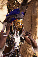 Akadaney, Niger, Africa - Fulani Wodaabe Dancer at Geerewol, preparing for the Male Beauty Contest.