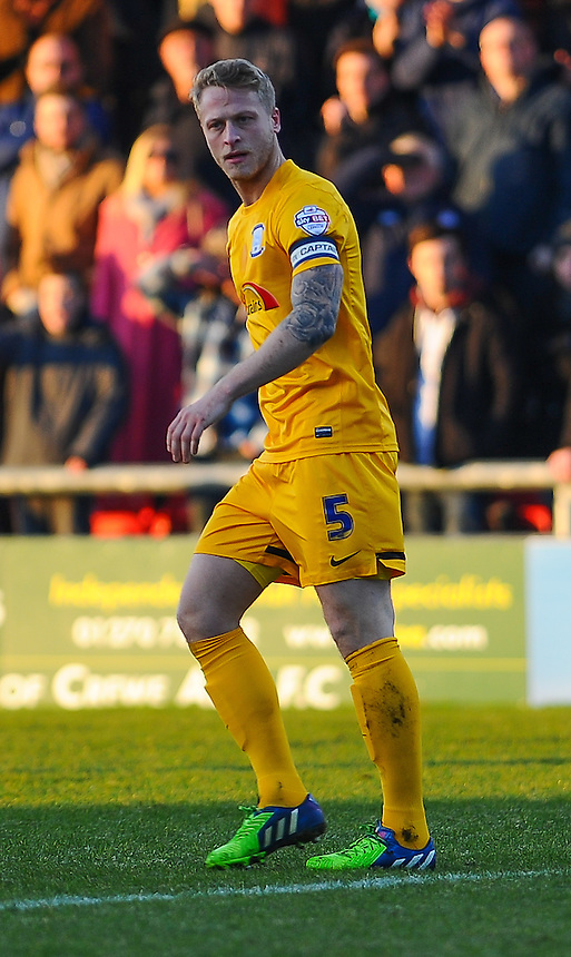 Preston North End's Tom Clarke in action during todays match  <br /> <br /> Photographer Craig Thomas/CameraSport<br /> <br /> Football - The Football League Sky Bet League One - Crewe Alexandra v Preston North End - Sunday 28th December 2014 - Alexandra Stadium - Crewe<br /> <br /> &copy; CameraSport - 43 Linden Ave. Countesthorpe. Leicester. England. LE8 5PG - Tel: +44 (0) 116 277 4147 - admin@camerasport.com - www.camerasport.com