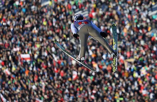 01.01.2017, Olympic Hill, Garmisch Partenkirchen, Germany. 4 Hills ski jumping tournament. Polish ski jumper Maciej Kot during a trial run at the Four Hills Tournament in Nordic skiing/ski jumping in Garmisch-Partenkirchen, Germany, 1st January 2017.
