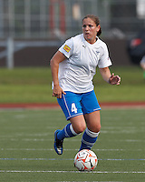 Boston Breakers defender Cat Whitehill (4) looks to pass. In a Women's Premier Soccer League Elite (WPSL) match, the Boston Breakers defeated Western New York Flash, 3-2, at Dilboy Stadium on May 26, 2012.