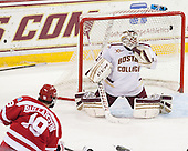 Robbie Baillargeon (BU - 19), Brian Billett (BC - 1) - The Boston College Eagles defeated the visiting Boston University Terriers 6-4 (EN) on Friday, January 17, 2014, at Kelley Rink in Conte Forum in Chestnut Hill, Massachusetts.
