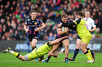 Sam Hill of Exeter Chiefs takes on the Leicester Tigers defence. Anglo-Welsh Cup Final, between Exeter Chiefs and Leicester Tigers on March 19, 2017 at the Twickenham Stoop in London, England. Photo by: Patrick Khachfe / JMP