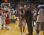 "Ole Miss guard Chris Warren (12) is congratulated by Ole Miss head coach Andy Kennedy as he leaves the court at C.M. ""Tad"" Smith in Oxford, Miss. on Saturday, March 5, 2010. Ole Miss won 84-74."