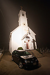 St Sava Serbian Orthodox Church illuminated in the foggy evening during Christmas Eve Vigil Service, St. Sava Serbian Orthodox Church, Jackson, Calif...St. Sava was the first Serbian Orthodox Church founded in the Western Hemisphere by Fr. Sebastian Dabovich in 1894.