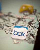 The icon for Box, an online storage company, is seen on a tablet in New York on Tuesday, March 25, 2014. Box filed for an initial public offering on Monday, seeking to raise $250 million.  (© Richard B. Levine)