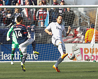 Vancouver Whitecaps FC defender Andy O'Brien (40) clears the ball.  In a Major League Soccer (MLS) match, the New England Revolution (blue/white) tied Vancouver Whitecaps FC (white), 0-0, at Gillette Stadium on March 22, 2014.
