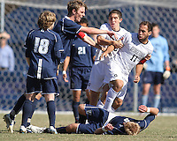 Andy Riemer #20 of Georgetwn University keeps Jose Colchao #11 away from Dylan Renna #9 of Villanova University during a Big East match at North Kehoe Field, Georgetown University on October16 2010 in Washington D.C. Georgetown won 3-1.