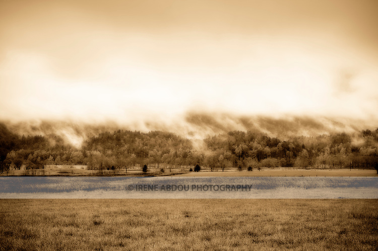 High dynamic range image of the Smoky Mountains, which are named after the mist that appears at the end of the rainstorms (as seen from Cades Cove, next to the Smoky Mountains National Park in Tennessee).