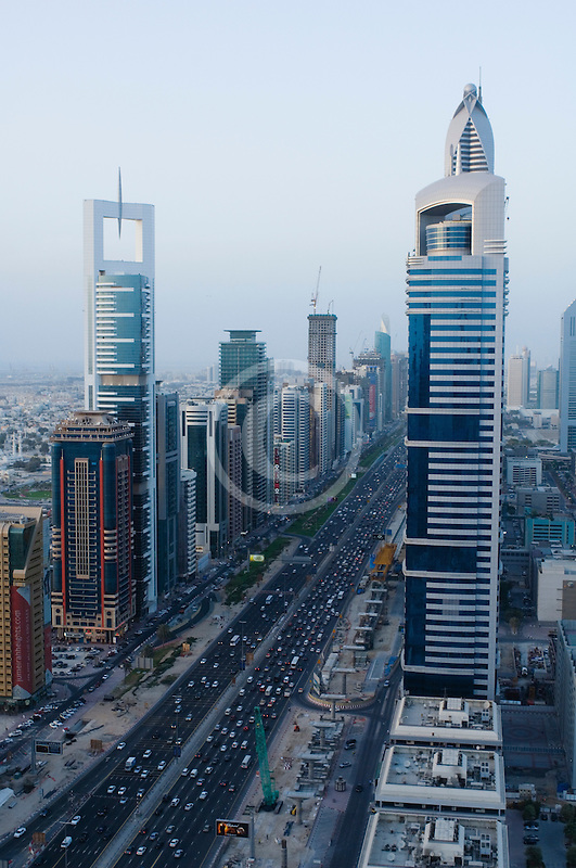 United Arab Emirates, Dubai, Sheikh Zayed Road and Dubai business district, high angle view