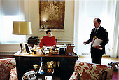 United States President Ronald Reagan works with White House Assistant Michael Deaver in the President's second floor study near the living quarters of the White House in Washington, D.C. on Wednesday, April 15, 1981.  Reagan is recovering from a gun shot wound received in the attempted assassination on March 31, 1981..Mandatory Credit: Michael Evans - White House via CNP