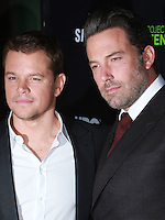 HOLLYWOOD, LOS ANGELES, CA, USA - NOVEMBER 07: Matt Damon, Ben Affleck arrives at HBO's 'Project Greenlight' Season 4 Winner Announcement held at Boulevard3 on November 7, 2014 in Hollywood, Los Angeles, California, United States. (Photo by David Acosta/Celebrity Monitor)