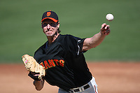 SCOTTSDALE, AZ - FEBRUARY 27:  Randy Johnson of the San Francisco Giants pitches during their spring training game against the Kansas City Royals at Scottsdale Stadium in Scottsdale, Arizona on February 27, 2009.  Photo by Brad Mangin