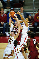 LOS ANGELES, CA - December 29, 2011:  Stanford's Sarah Boothe during play against the USC Trojans at the Galen Center.   Stanford defeated USC, 61 - 53.