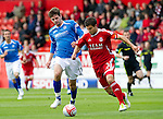 Aberdeen v St Johnstone... 23.07.11   SPL Week 1.Cillian Sheridan and and Richie Foster.Picture by Graeme Hart..Copyright Perthshire Picture Agency.Tel: 01738 623350  Mobile: 07990 594431