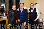 Pictured at the Liam Lawton Concert 'O Holy Night' at Castleisland Parish Church, in aid of Brosna Parish Church Renovation Fund, on Monday were l-r: Nigel Connell, Liam Lawton and Mark Cahill.