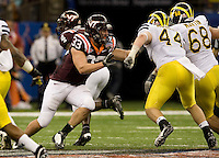 Chris Drager of Virginia Tech in action during Sugar Bowl game against Michigan at Mercedes-Benz SuperDome in New Orleans, Louisiana on January 3rd, 2012.  Michigan defeated Virginia Tech, 23-20 in first overtime.