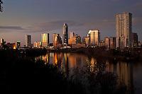 Beautiful Austin skyline reflection at sunset