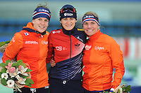 SPEED SKATING: STAVANGER: Sørmarka Arena, 31-01-2016, ISU World Cup, Podium combined ranking 1500-3000m Ladies Division A, Ireen Wüst (NED), Martina Sábliková (CZE), Linda de Vries (NED), ©photo Martin de Jong