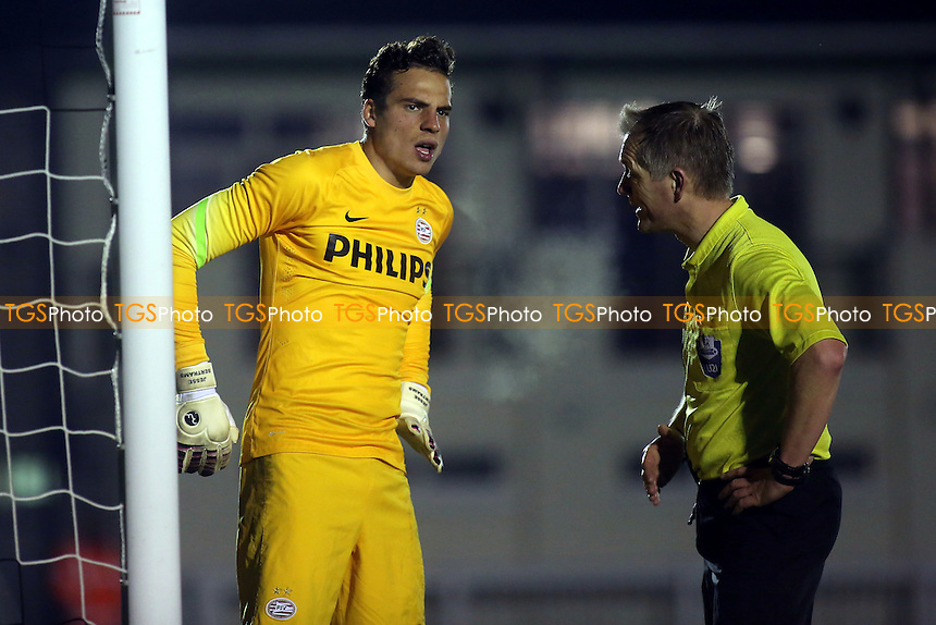 Referee Mr M George checks that PSV Eindhoven goalkeeper, Jesse Bertrams, is fit to continue after receiving a knock on the head - Fulham Under-21 vs PSV Eindhoven Under-21 - Under-21 Premier League Football at Motspur Park Training Ground, Surrey - 21/01/15 - MANDATORY CREDIT: Paul Dennis/TGSPHOTO - Self billing applies where appropriate - contact@tgsphoto.co.uk - NO UNPAID USE