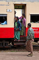 Myanmar, Burma.  Burmese Passengers at Kalaw Train Station.