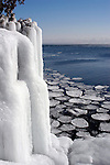 Ice cliff on Lake Superior in Cascade State Park, Minnesota.