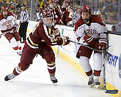 Steven Whitney (BC - 21), Kyle Criscuolo (Harvard - 11) - The Boston College Eagles defeated the Harvard University Crimson 4-1 in the opening round of the 2013 Beanpot tournament on Monday, February 4, 2013, at TD Garden in Boston, Massachusetts.