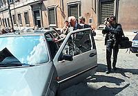 Roma .Gianni Agnelli alla guida della sua auto..Gianni Agnelli at the helm of his car...