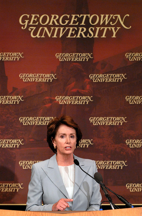 House Minority Leader Nancy Pelosi, D-Calif., addresses Georgetown University students on the subject of the economy, genocide in darfur, AIDS in Africa, and the Mark Foley scandal.