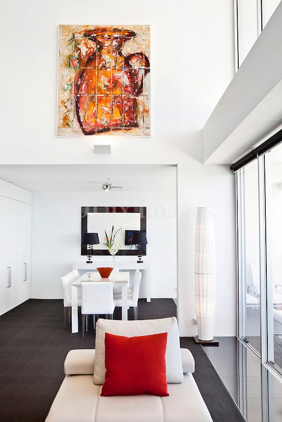 modern contemporary living room with dining set