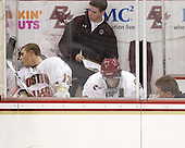 Bert Lenz (BC - Dir-Sports Medicine) checks on Brian Gibbons (BC - 17) while he served his goaltender interference minor. - The Boston College Eagles defeated the visiting University of Toronto Varsity Blues 8-0 in an exhibition game on Sunday afternoon, October 3, 2010, at Conte Forum in Chestnut Hill, MA.