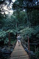 Hikers crossing a suspension bridge in the El Macho Ecological Reserve in El Valle de Anton, Panama