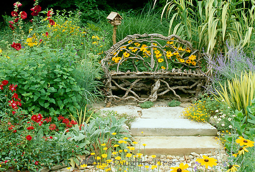 Grapevine bench in intimate nich of summer garden with blooming holly hock, rudibecia, monarda, coneflowers, tithonia flower,  lambs ear, ornamental grasses