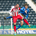 Kilmarnock v St Johnstone...11.08.13 SPFL<br /> Kris Boyd and Murray Davidson<br /> Picture by Graeme Hart.<br /> Copyright Perthshire Picture Agency<br /> Tel: 01738 623350  Mobile: 07990 594431