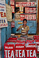 Boy in teashop in Varanasi, Uttar Pradesh, India