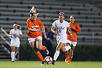 15 October 2016: Virginia's Taylor Ziemer (left) is chased by Duke's Olivia Erlbeck (11). The Duke University Blue Devils hosted the University of Virginia Cavaliers at Koskinen Stadium in Durham, North Carolina in a 2016 NCAA Division I Women's Soccer match. Duke won the game 1-0.