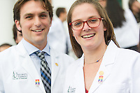Carl Nunziato, left, Elena Siani. Class of 2017 White Coat Ceremony.