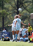 Kelly Hathorn (6), of Duke, and San Diego's Lee Klopschinski (3) challenge for a header on Sunday September 18th, 2005 at Koskinen Stadium in Durham, North Carolina. The Duke University Blue Devils defeated the University of San Diego Toreros 5-0 during the Duke adidas Classic soccer tournament.
