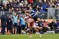 Robbie Fruean of Bath Rugby looks to claim the ball in the air. Aviva Premiership match, between Bath Rugby and Gloucester Rugby on April 30, 2017 at the Recreation Ground in Bath, England. Photo by: Patrick Khachfe / Onside Images