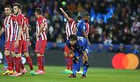 Leicester City's Shinji Okazaki waits for a corner kick<br /> <br /> Photographer Stephen White/CameraSport<br /> <br /> UEFA Champions League Quarter Final Second Leg - Leicester City v Atletico Madrid - Tuesday 18th April 2017 - King Power Stadium - Leicester <br />  <br /> World Copyright &copy; 2017 CameraSport. All rights reserved. 43 Linden Ave. Countesthorpe. Leicester. England. LE8 5PG - Tel: +44 (0) 116 277 4147 - admin@camerasport.com - www.camerasport.com