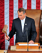United States House Speaker John Boehner (Republican of Ohio) strikes the gavel following his opening remarks at the opening of the 112th Congress in the U.S. Capitol in Washington, D.C. on Wednesday, January 5, 2011..Credit: Ron Sachs / CNP.(RESTRICTION: NO New York or New Jersey Newspapers or newspapers within a 75 mile radius of New York City)