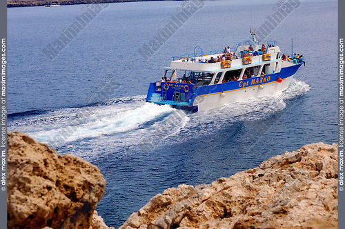 Travel stock photo of a Cruise boat with tourists - Captain Marko Limassol tourist boat - in Mediterranean Sea Cyprus Summer vacation tourism adventure journey recreational concept Horizontal