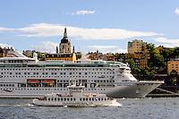 Sweden, Stockholm. Center of Stockholm with Djurgårdsferjan.