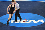 BIRMINGHAM, AL - MARCH 11:  Nate Rodriguez of Maryville celebrates after defeating Darren Wynn of McKendree in the 141 lb weight class during the Division II Men's Wrestling Championship held at the Birmingham CrossPlex on March 11, 2017 in Birmingham, Alabama. (Photo by Jamie Schwaberow/NCAA Photos via Getty Images)