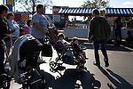 Families walk through Lego City in Legoland in Whitehaven, Florida on February 11, 2012.