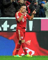 FUSSBALL   1. BUNDESLIGA  SAISON 2011/2012   15. Spieltag FC Bayern Muenchen - SV Werder Bremen        03.12.2011 Jubel nach dem Tor zum 1:0 Franck Ribery (FC Bayern Muenchen)
