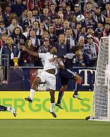 Toronto FC forward Joseph Nane (15) and New England Revolution defender Kevin Alston (30) battle for head ball. The New England Revolution defeated Toronto FC, 4-1, at Gillette Stadium on April 10, 2010.