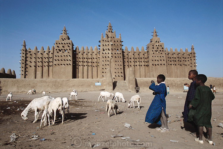 The mud walled Grand Mosque, in Djenne, Mali provides an impressive backdrop to daily life for foraging goats. Work, Muslim, Islam, Religion, Architecture. Africa.
