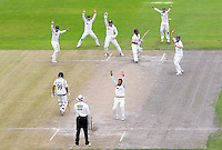 Picture by Alex Whitehead/SWpix.com - 03/09/2014 - Cricket - LV County Championship Div One - Lancashire CCC v Yorkshire CCC, Day 4 - Emirates Old Trafford, Manchester, England -Yorkshire's Adil Rashid and team-mates celebrate the wicket of Lancashire's Ashwell Prince.