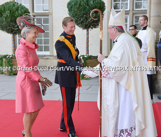 """Wedding of HRH the Hereditary Grand Duke Guillaume and Countess Stéphanie de Lannoy.at the Catherdral of Our Lady of Luxembourg, Luxembourg_20-10-2012.Mandatory credit photo: ©©Grand-Ducal Court/Vic Fischbach/NEWSPIX INTERNATIONAL..(Failure to credit will incur a surcharge of 100% of reproduction fees)..                **ALL FEES PAYABLE TO: """"NEWSPIX INTERNATIONAL""""**..IMMEDIATE CONFIRMATION OF USAGE REQUIRED:.Newspix International, 31 Chinnery Hill, Bishop's Stortford, ENGLAND CM23 3PS.Tel:+441279 324672  ; Fax: +441279656877.Mobile:  07775681153.e-mail: info@newspixinternational.co.uk"""